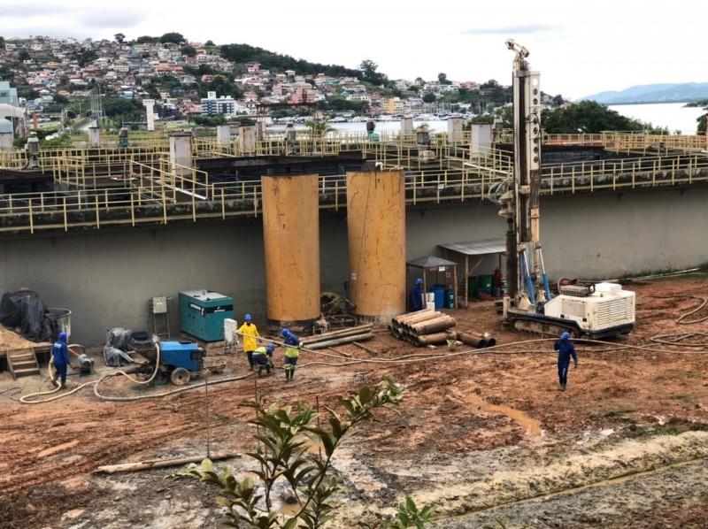 Obra da ETE Insular em Florianópolis (foto: Casan)